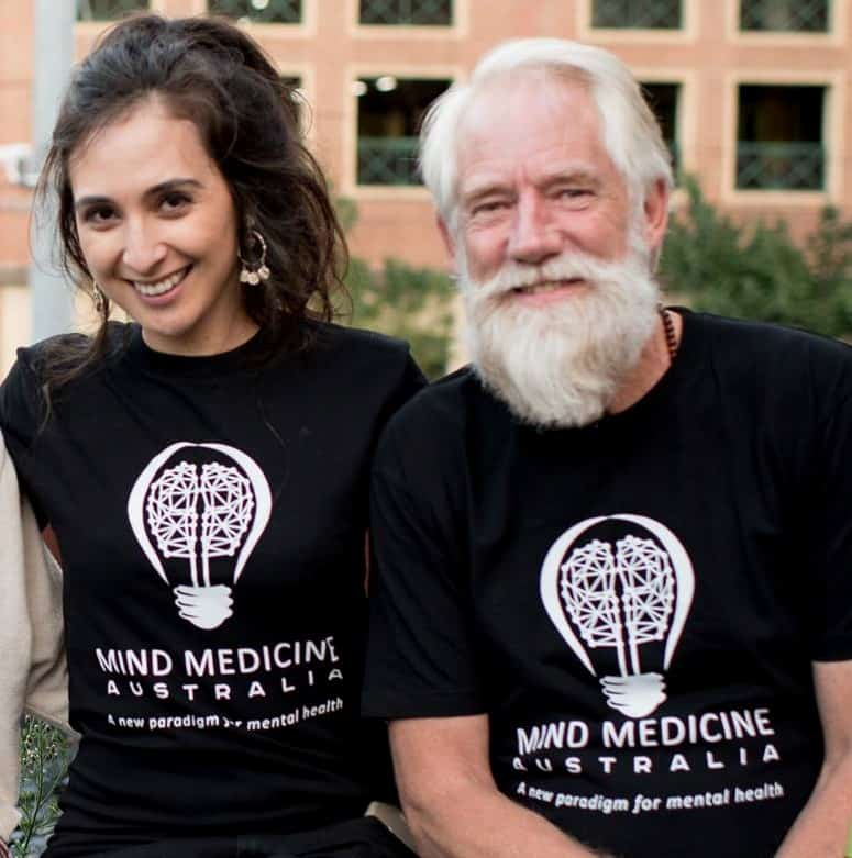 People wearing Mind Medicine Australia t-shirts